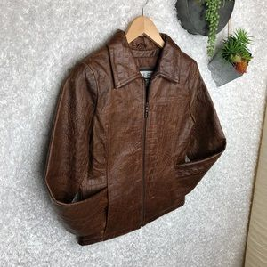 Wilsons Croc Embossed Leather Jacket S
